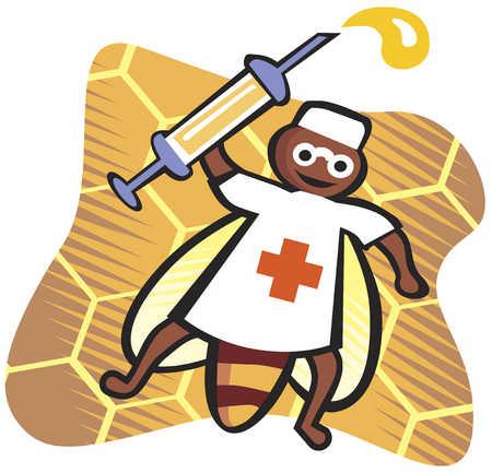 bee doctor honey medicine cartoon